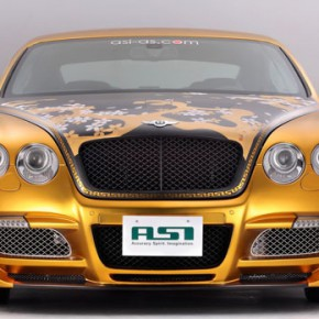 Золотой Bentley Continental (бентли континенталь) GT с сакурой 2