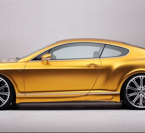 Золотой Bentley Continental GT (бентли континенталь) с сакурой 4