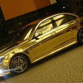 Gold plated car ( золотой автомобиль ) Mercedes-Benz c63 amg